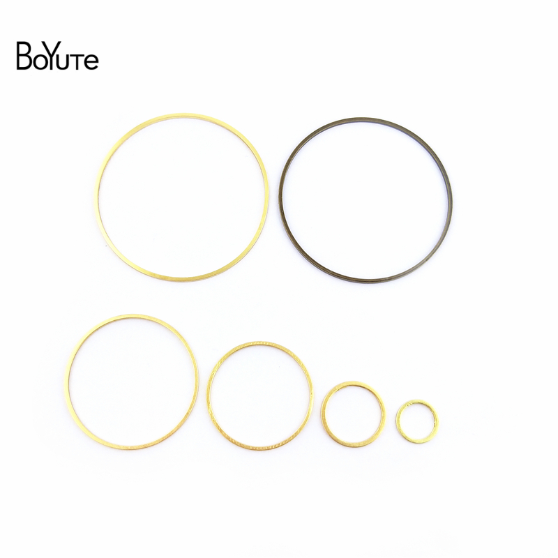 BoYuTe 100Pcs 7 Sizes Copper Metal Hoop Ring Connector Charms 3 Colors DIY Jewelry Findings Components