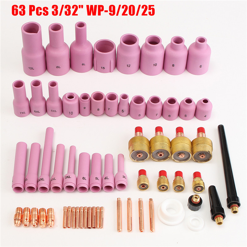 TIG Gas Lens,Back Cap Collet Body Assorted Size Fit TIG Torch SR WP9 20 25,63PK 2018 New Arrival 2015 sale gas burner wp 17v sr 17v tig welding torch complete 20feet 6meter soldering iron gas valve control air cooled 150amp