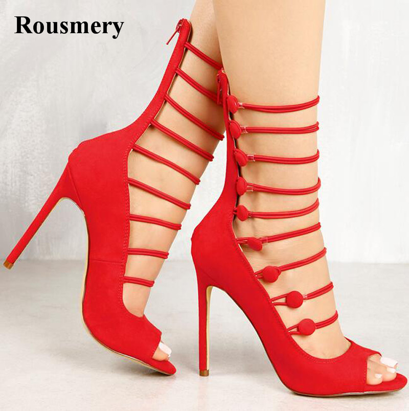 Free Shipping Women Fashion Open Toe Suede Leather Strap High Heel Sandals Strap Cross Cut-out Gladiator Sandals Dress Shoes hot selling women summer new fashion open toe silver leather gladiator sandals cut out strap cross high heel sandals dress shoes