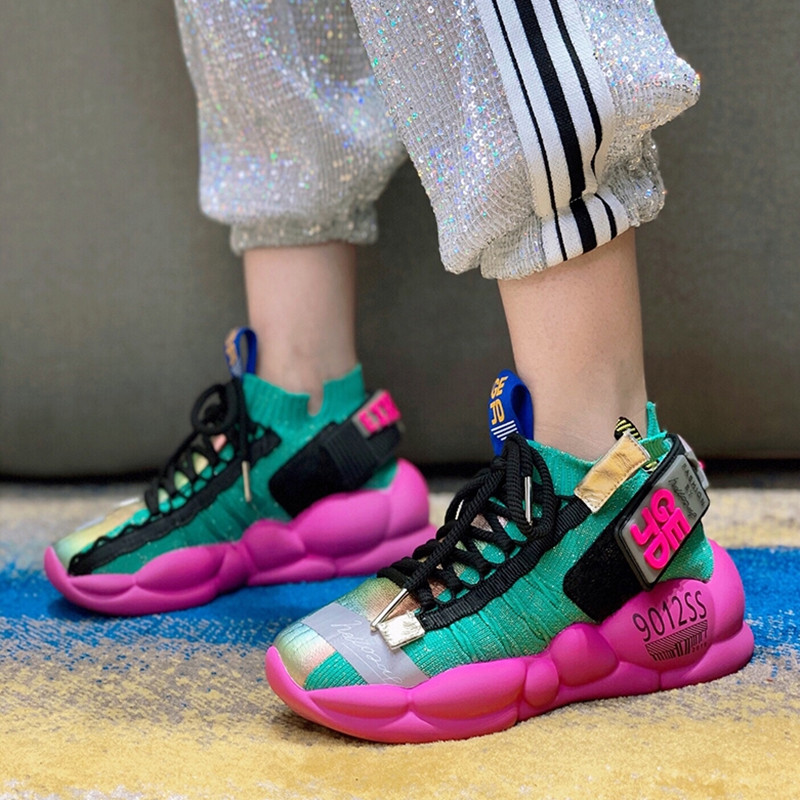 Prova Perfetto Colorful Women Sneakers Casual Flat Sock Shoes Woman Thick Heel Platform Creepers Ladies Lace Up Espadrilles New