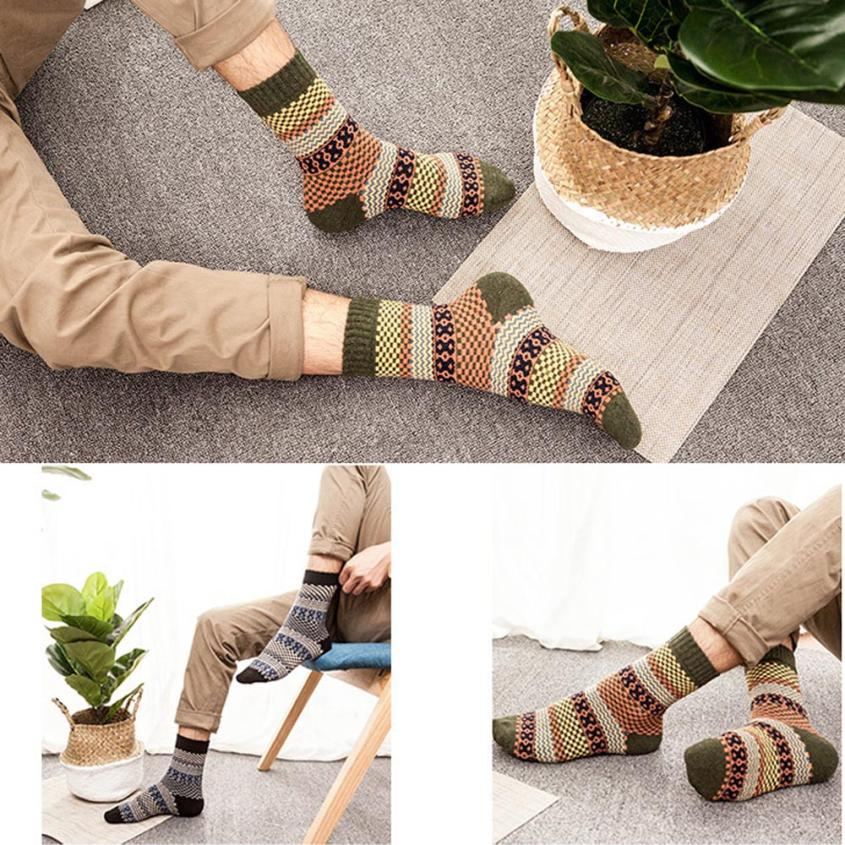 5 Pairs Mans Knit Printed Warm Wool Socks High Quality Youthful Style Elastic Socks Newest Popular Breathable Sokken Meias Soxs