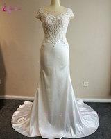 Waulizane New Arrival Bainha Vestidos de Casamento Com Cristais Pérolas Frisado Apliques Lustrous Cetim Backless Do Vestido de Casamento