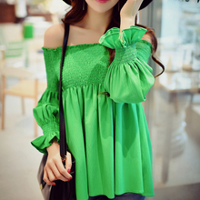 Dabuwawa green solid ruffled shirred balloon sleeve blouse