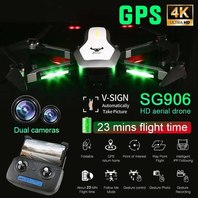 Zangão GPS 5 SG906 G WIFI FPV 4 K HD Câmera Selfie Dobrável Brushless RC Zangão drones dron helicóptero Livre saco do Presente quadcopter