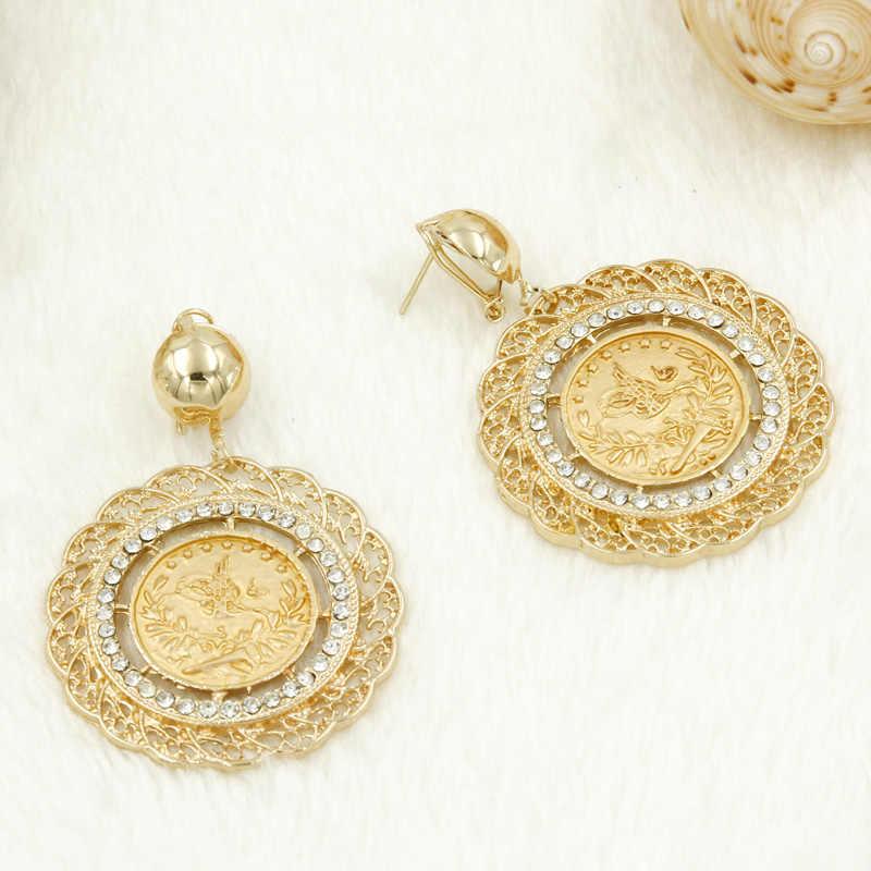 AAAA אופנה גבירותיי קסמי מטבעות זהב סט תכשיטי קריסטל ארוך חליפת עגילי שרשרת זהב דובאי שמלות כלה
