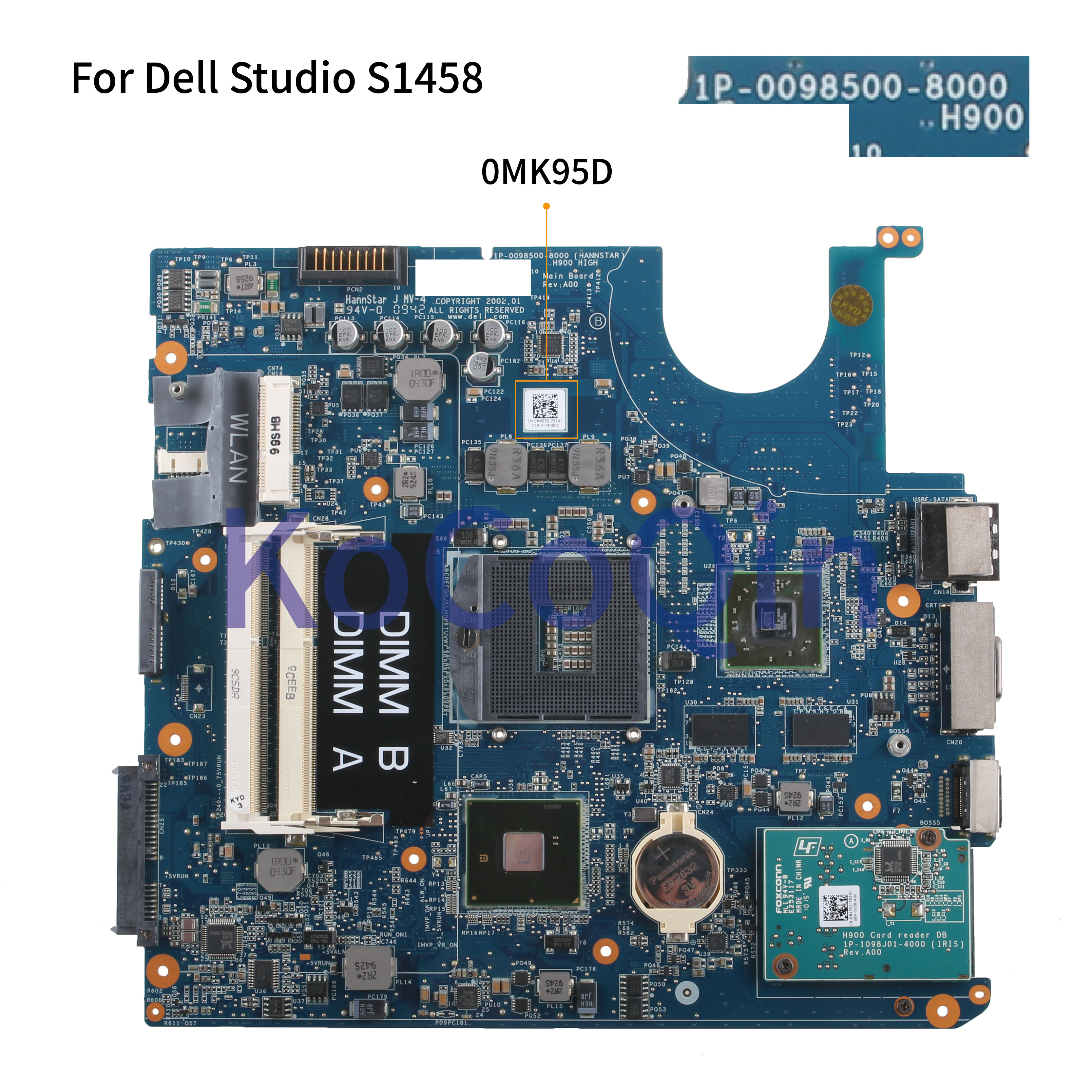 KoCoQin Laptop Motherboard For Dell Studio 1458 1457 S1458 S1457 HD4500 512MB Mainboard CN-0MK95D 0MK95D 1P-0098J01-8000
