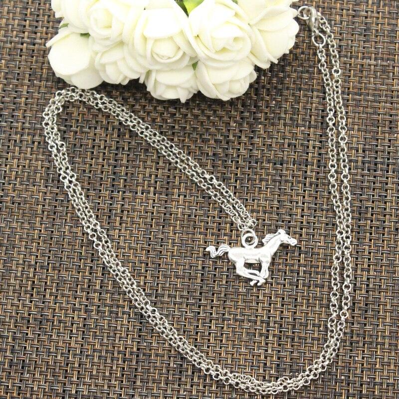 Новые модные Бег лошадь конь Подвески круглый крест цепи Короткие Длинные мужские женские DIY серебряное ожерелье украшения подарок