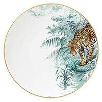 Animal Forest Series Elegant Dinner Plate European Luxury Animal Decoration Plate Gift Handmade Gold Plate