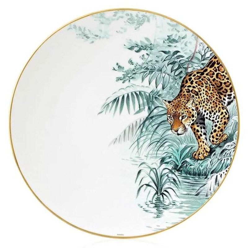 Assiette de dîner élégante | Série de forêt d'animaux, assiette de décoration d'animaux de luxe européenne, cadeau assiette en or faite à la main