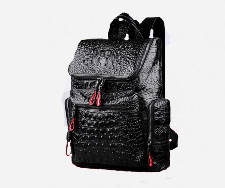 Crocodile motif véritable cuir hommes grand sac à dos de haute qualité