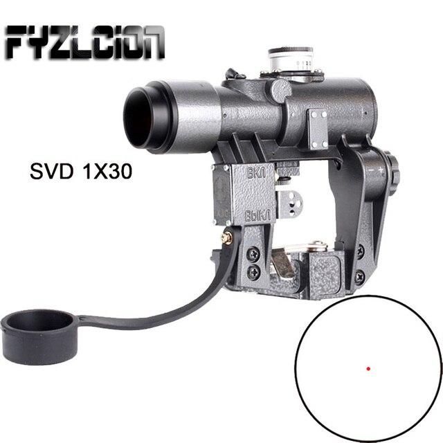 1X30 SVD  Optical Sight  Riflescopes Red Iluminado Dot Sight Recoil Resistente Huting Rifle SKS Escopo Para Tcatical Rifle Scope