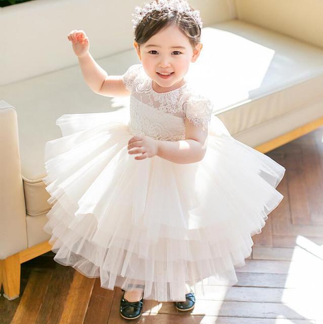 2018 del verano del bebé vestido de encaje niñas vestido de bautizo Big Bow  niña 1 d2b52518201a