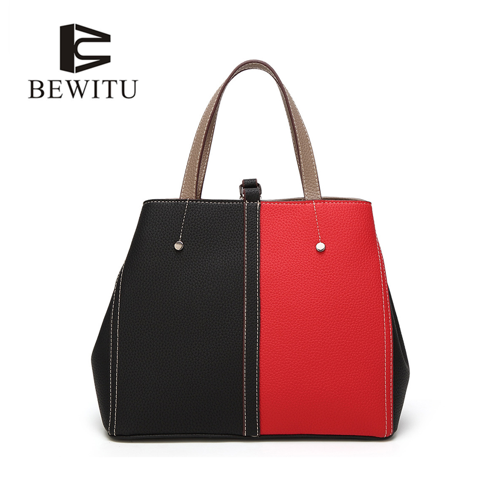 BEWITU Fashion Women Brand New Design Handbag Black and Red Spell Color Tote Bag Female Shoulder Bags High Quality PU Leather 2017 new elegant handbag for women high quality split leather female tote bags stylish red black gray ladies messenger bag