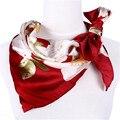 [LESIDA] 100% Шелковые Шарфы Для Женщин, 90 СМ Площади Атласная Цветочные Шарфы, Печать Розы Мыс, красный Атласный Шарф, Платки Женщин Платки