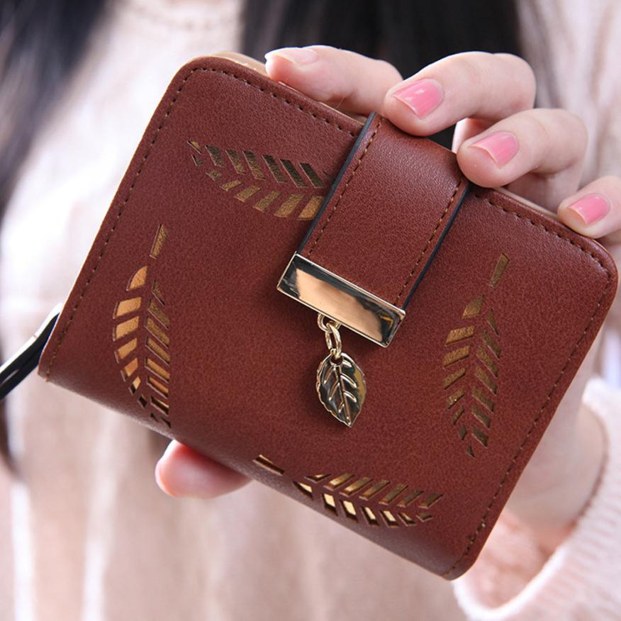 Top quality Square women coin purses holders wallet,leather female money designer leaf wallets famous brand women wallet 2016