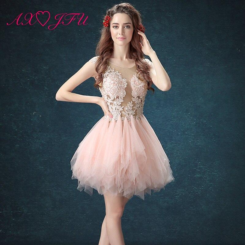 AXJFU Pink Lace Illusion Robe De Soiree Short O-neck White Evening Gowns Grey Lace Short Evening Dresses Little Black Dress