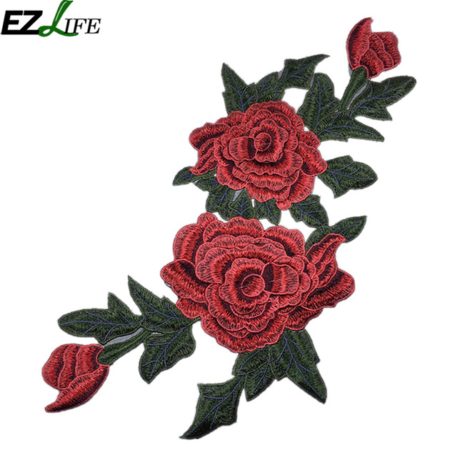 A Pair Embroidered Red Flower Applique Patch,Vintage Floral Patch for  Clothing or Dress Decoration Embroidery Appliques
