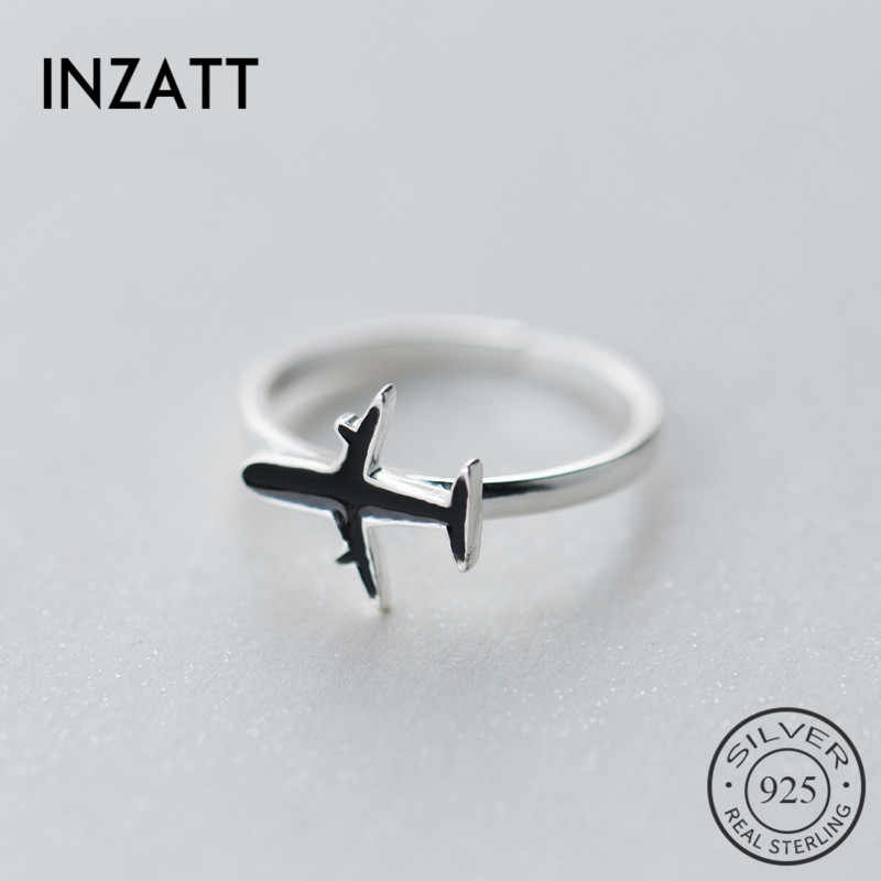INZATT New Arrived Trendy Women Authentic 925 Sterling Silver Ring Chic Black Enamel aircraft Shape For Girls Birthday Jewelry