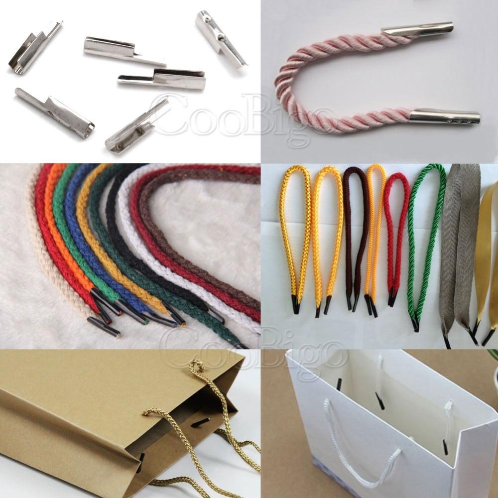 50 шт. 2,5 мм концы шнура с фиксатором металлический Серебряный Зажим для бумажного мешка ручной шнурок тесьма лента DIY аксессуары для шитья