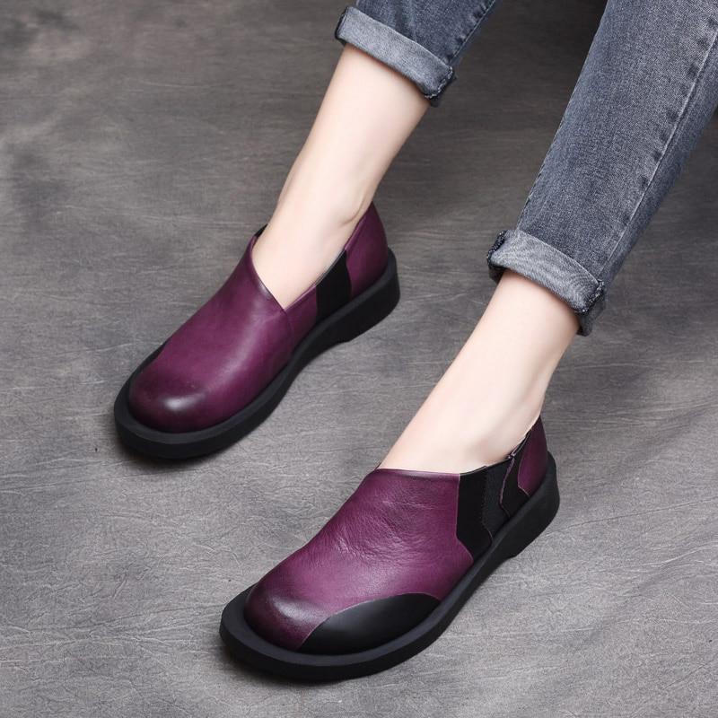 Genuino Marca La A Cuero En Zapatos Hecho Mocasines Bajo De Las Perezosos Púrpura Slip Mujeres Mano chocolate Tacón 2019 Suave Planos Primavera wSq4f7Tq