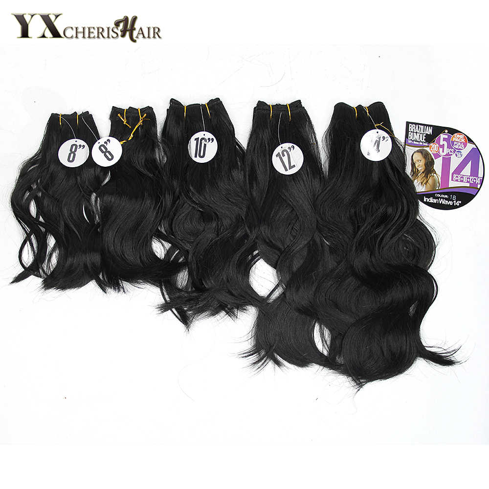 "YXCHERISHAIR 8-14 ""Synthetisch Zwart Haar Bundels Body Wave Weave Haar Inslag Naaien in Yaki Hair Extensions Warmte slip 5 stks/pak"
