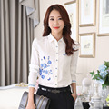 OL Style Office Lady Elegant White Blouses Size S-3XL Flower Print Turn-down Collar Women Chiffon Shirts Long Sleeve Clothing