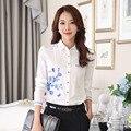 Ol estilo elegante señora de la oficina blusas tamaño s-3xl blanco estampado de flores dan vuelta-abajo de la gasa de las mujeres camisas de manga larga clothing