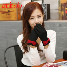 1 Pair Fashion Bow Leather Gloves For Touch Screens Warm Wrist Winter Female Brand Mittens Women Long Soft