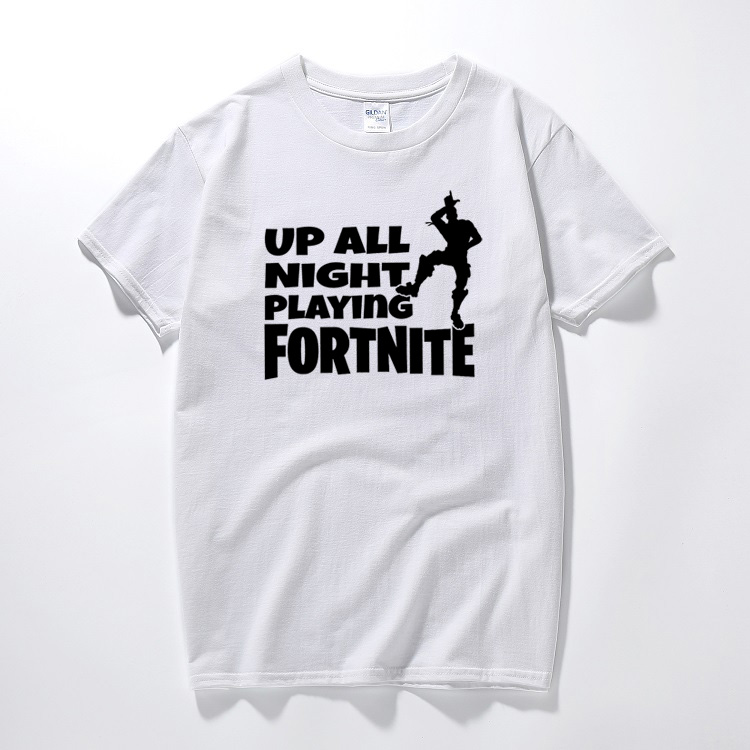 Fortnite up all night battle royale gaming t-shirt ps4 xbox gamers youtuber tee Cotton short sleeve tshirt summer top camisetas