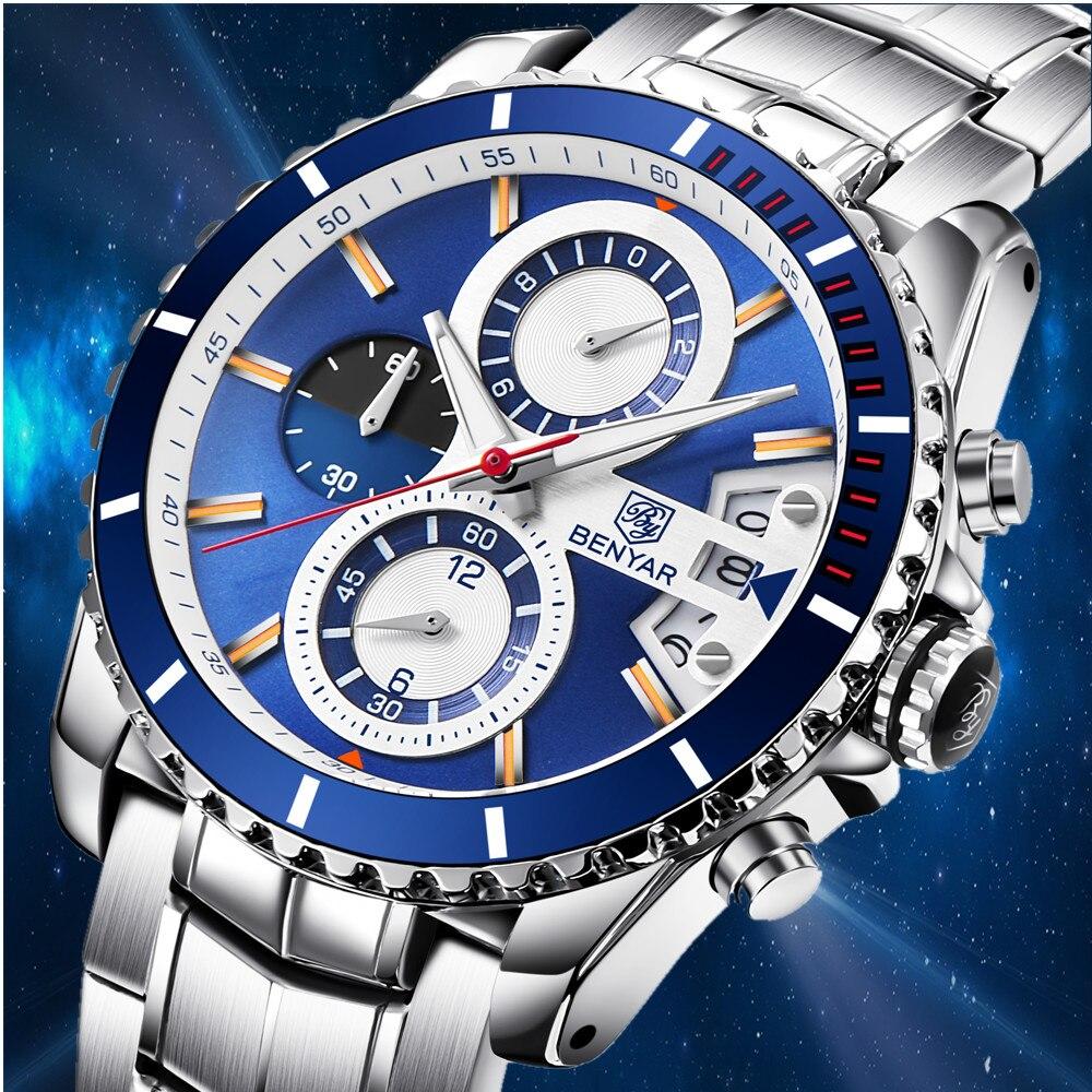 BENYAR di Affari di Modo Mens Orologi Reloj Hombre Top Brand di Lusso Cronografo Al Quarzo Impermeabile Blu Della Vigilanza di Orologio Zegarek Meski