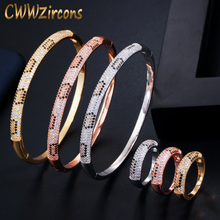 CWWZircons Fashion Brand Rose Gold Color Round Cobra Slim CZ Open Bangle Bracelet and Rings Set for Women Wedding Jewelry T345 t345 2015