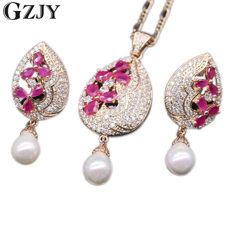GZJY Exquisite Jewelry Set Waterdrop Flower Natural Red Zircon&Pearl Drop Pendant Necklace Earrings Set For Women цена