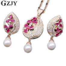 GZJY Exquisite Jewelry Set Waterdrop Flower Natural Red Zircon&Pearl Drop Pendant Necklace Earrings Set For Women