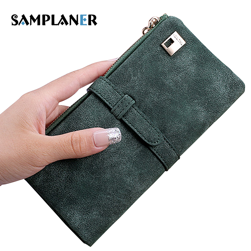 Samplaner Retro Women Wallets Drawstring Nubuck Leather Zipper Wallet Matte PU Clutch Wallets for Woman Card Holder Purse Long