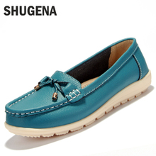 2016 new Summer genuine leather women flats shoes female casual flat women loafers shoes slips leather black flat women's shoes