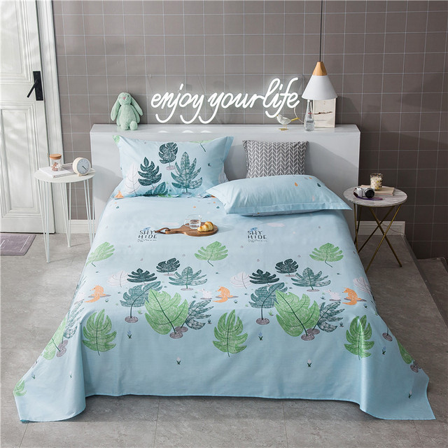 Gentil Modern Style Blue Leaves Pattern Cotton 3Pc On Sale Home Textile Bed Sheet  Set Bedding Fitted