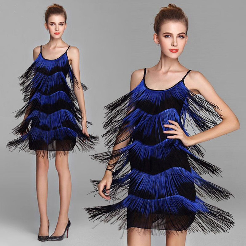 Women/'s Blue 1920/'s Deluxe Flapper 9 Tiered Fringe Costume Dress Beaded Straps