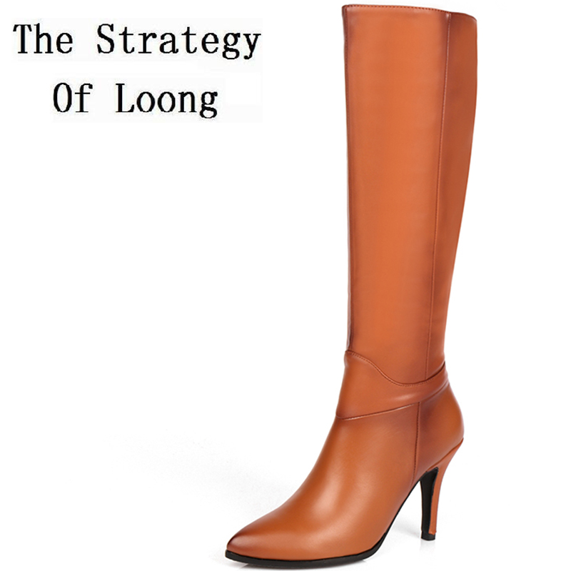 Women Full Grain Leather Thin Heels Pointed Toe Knee High Boots New Arrival Real Leather Short Plush Winter Long Boots 20170204 new arrival black red full grain leather zip fashion women boots pointed toe thin heels ankle shoes woman 1553