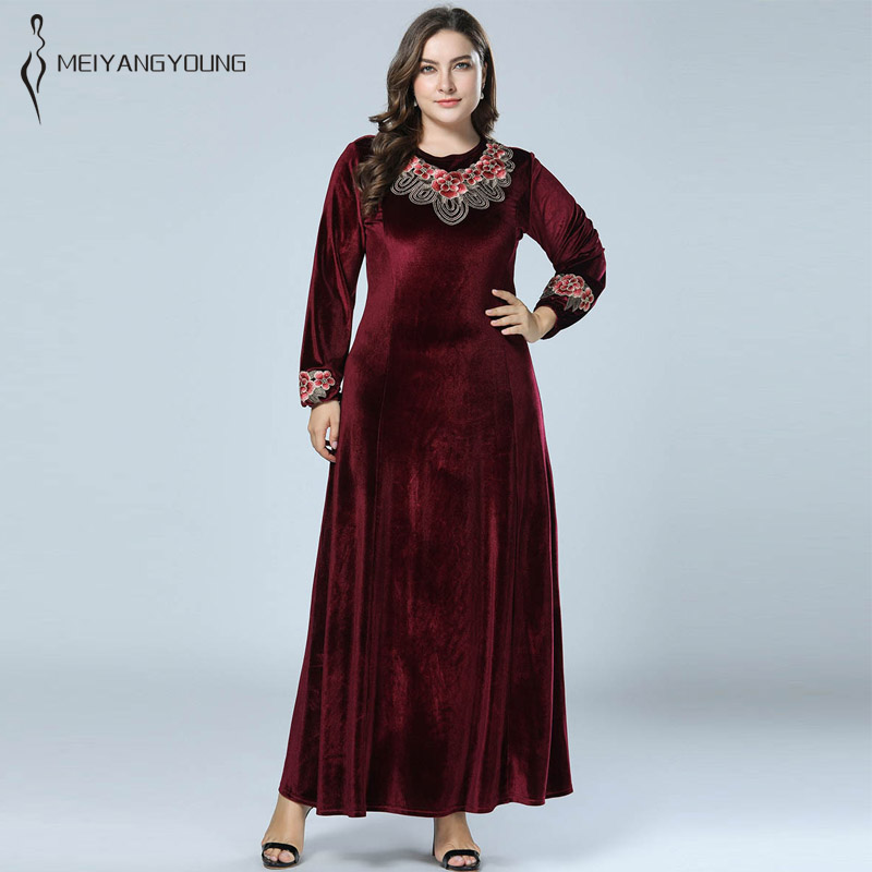 US $25.62 12% OFF|Women winter long dress plus size long sleeve arab  wedding gowns gold velvet robe large sizes lady spring party dresses gown  4XL-in ...