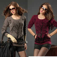 Plus Size Clothing 200 Mm Autumn And Winter New Arrival Knitted Basic Shirt Large Top