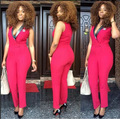 Sexy V-neck Sleeveless Red Bodycon Long Jumpsuit 2016 Fashion Summer Style Elegant Office Shorts Bodysuit Full-Length Rompers