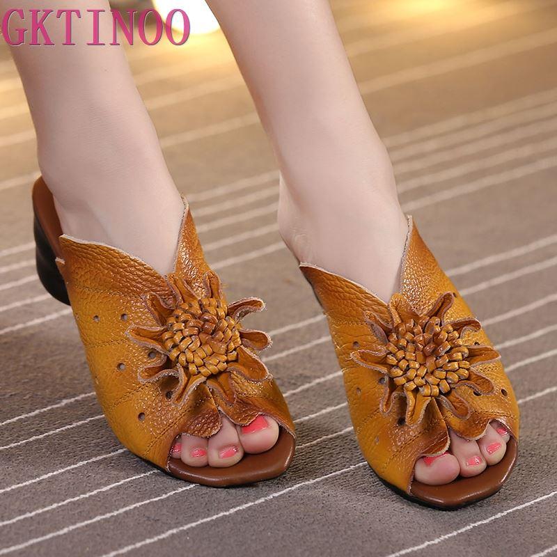 2019 Summer Women Shoes Wedges Sandals Genuine Leather Handmade Flower Square Heels Comfotable Women Slides