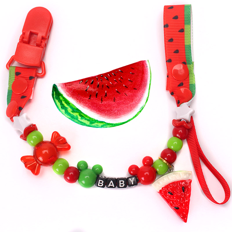 1 PCS New Baby Pacifier Fruit Cartoon Clip Chain Ribbon Holder Pacifier Clips Nipple Holder For Infant Baby Nipple Feeding