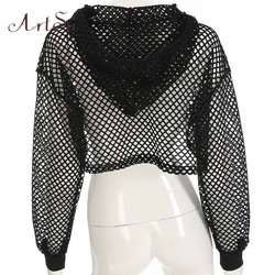 ArtSu Long Sleeve Tshirt Women Mesh Top Hooded Hollow Out Sexy Punk Rock Short Crop Top White T-shirt Fishnet Black ASTS20380 3