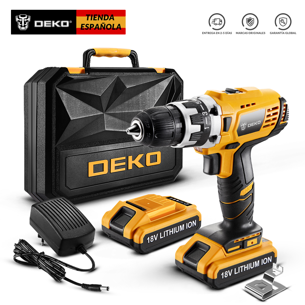 DEKO GCD18DU2 Original Electric Screwdriver Cordless Drill Wireless Power Driver 18V Lithium-Ion Battery 1/2-Inch 2-Speed