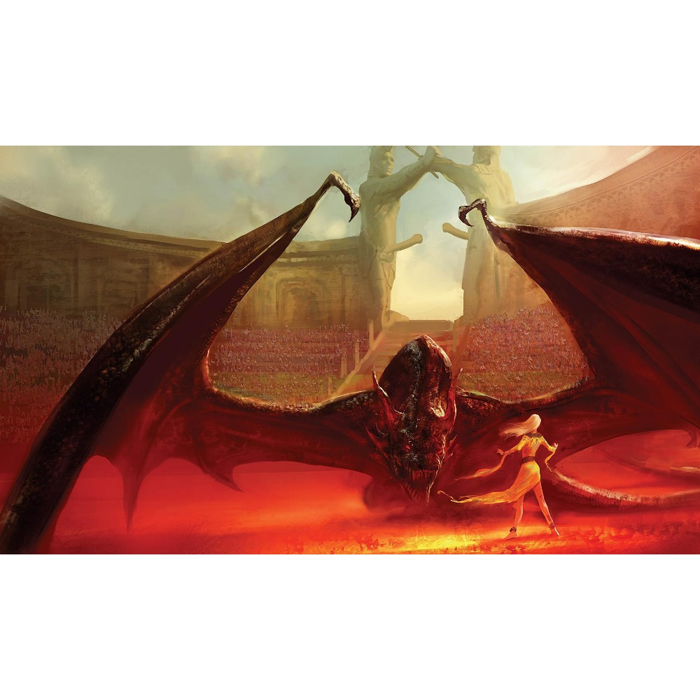 Game of Thrones (A song of Fire and Ice ) Daenerys Targaryen with her Biggest Dragon Playmat Board Game Cards playmat