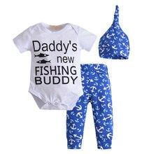 3pcs/Set ! Autumn style infant clothes baby clothing sets boy Cotton Short sleeves Romper+pants+hat 3pcs suit