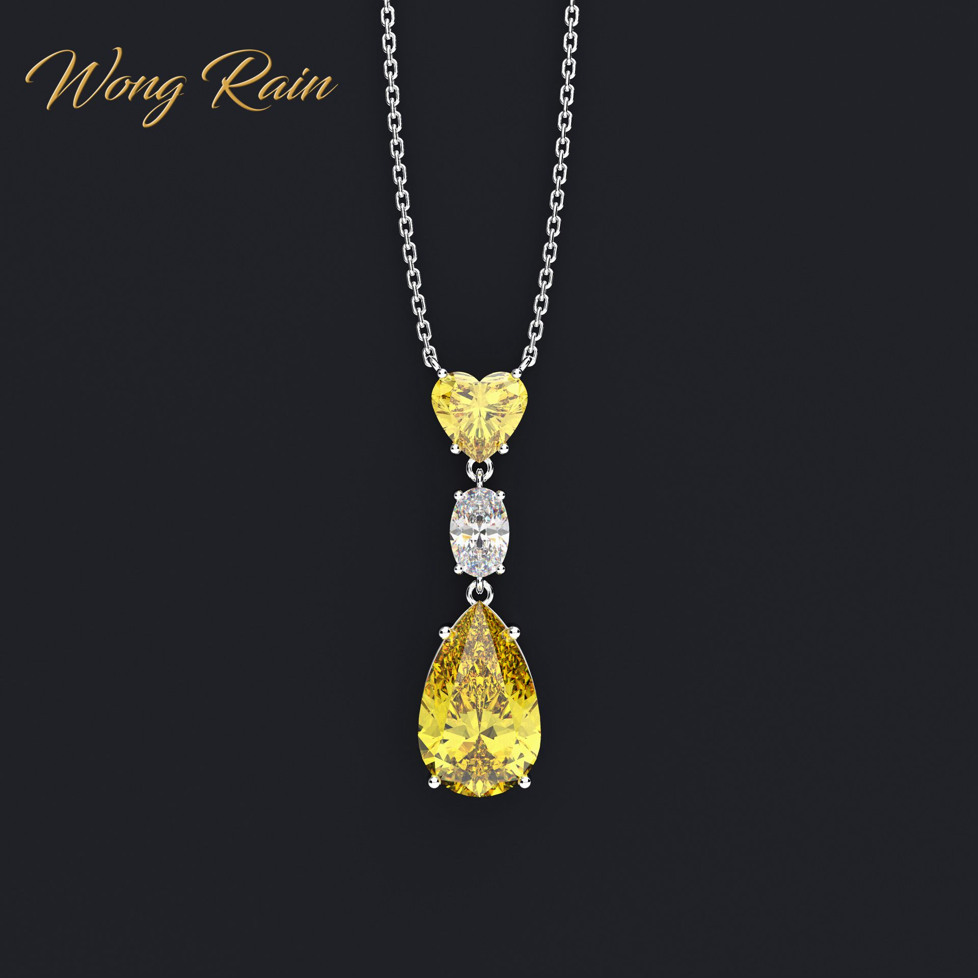 Wong Rain Vintage 925 Sterling Silver Water Drop Pear Heart Created Moissanite Gemstone Pendant Necklace Fine Jewelry Wholesale