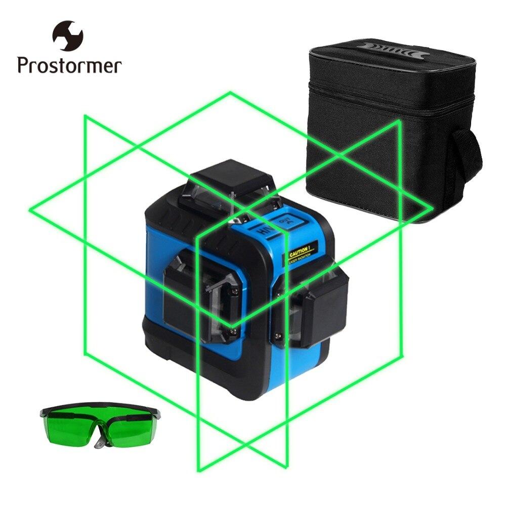 Prostormer 12 Lignes Rechargeable Laser Niveaux Professionnel 3D 360 Horizontal Vertical et Inclinaison Horizontale et le Mode En Plein Air Laser Niveau