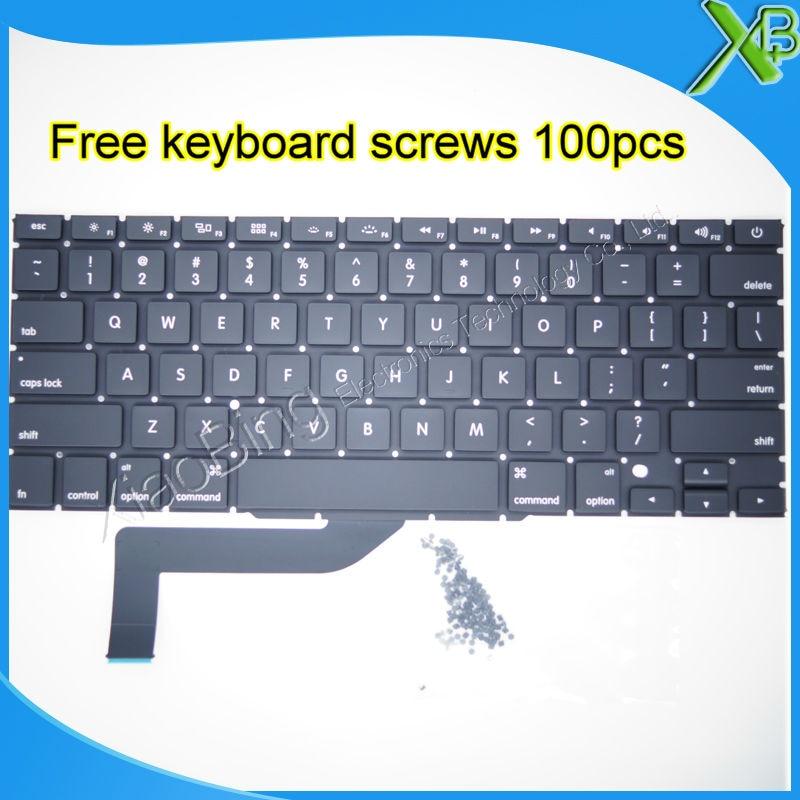 5PCS Brand New For MacBook Pro Retina 15 4 A1398 US keyboard 100pcs keyboard screws 2013